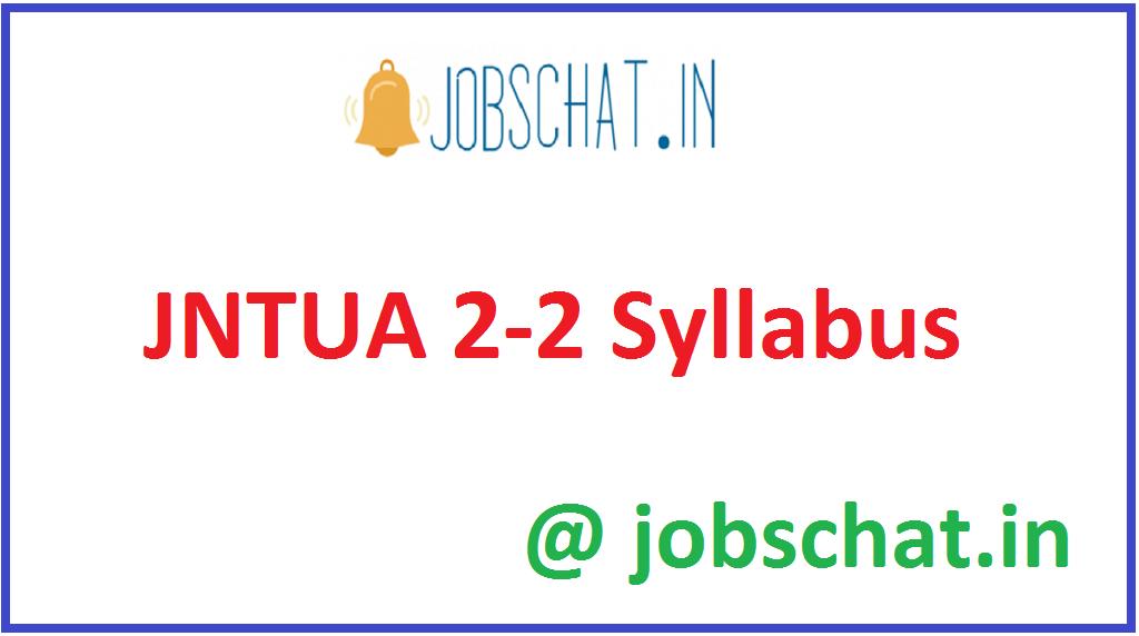 JNTUA 2-2 Syllabus