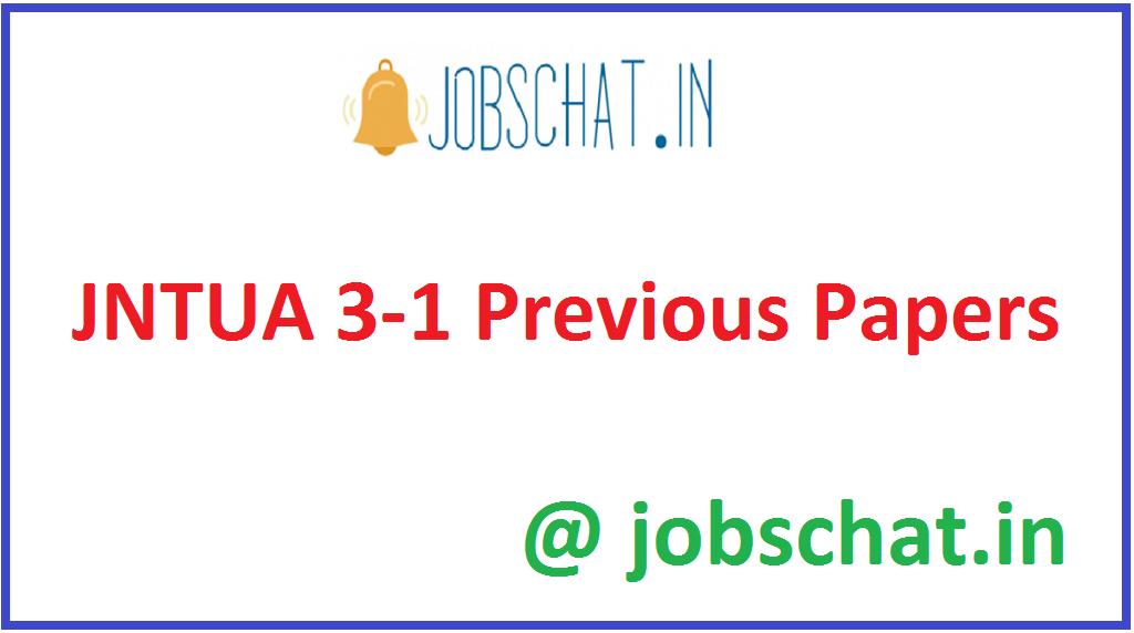 JNTUA 3-1 Previous Papers