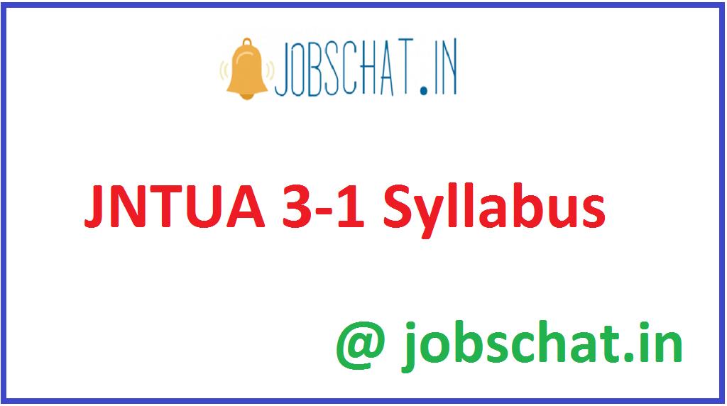 JNTUA 3-1 Syllabus