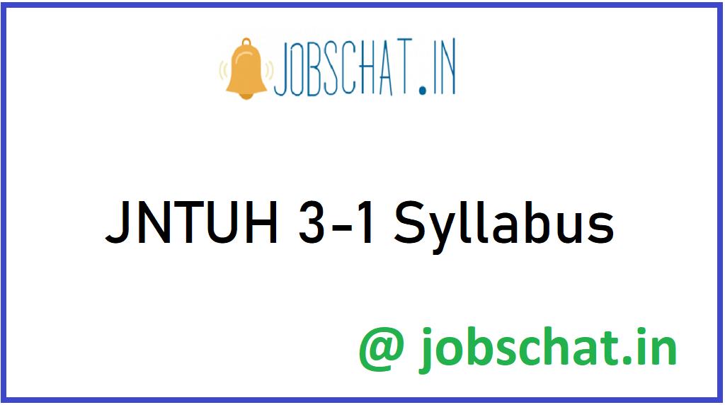 JNTUH 3-1 Syllabus