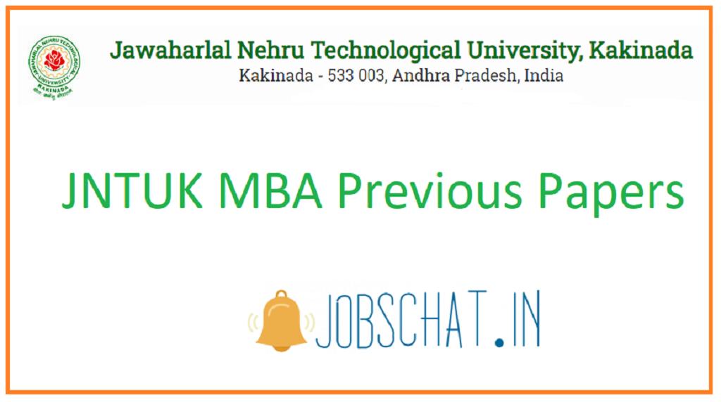 JNTUK MBA Previous Papers