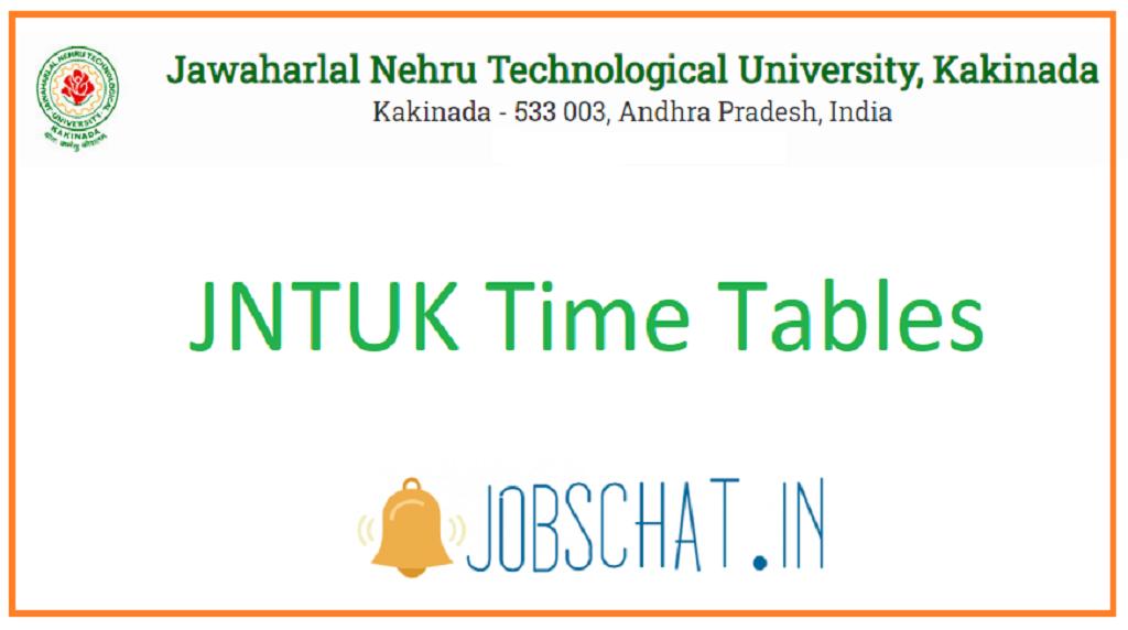JNTUK Time Tables
