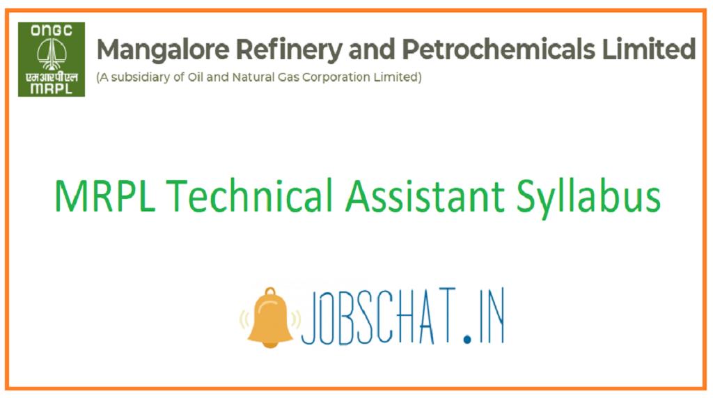 MRPL Technical Assistant Syllabus