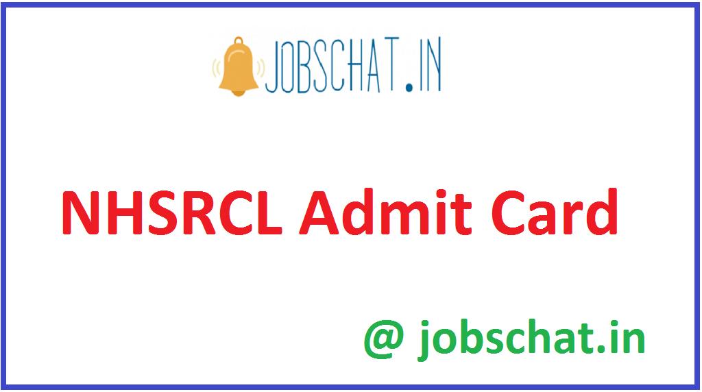 NHSRCL Admit Card