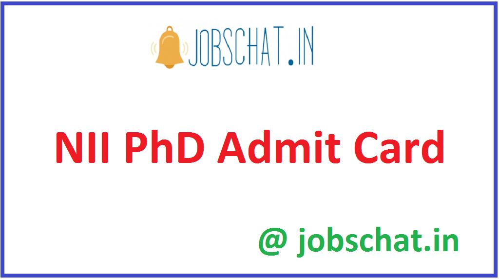 NII PhD Admit Card