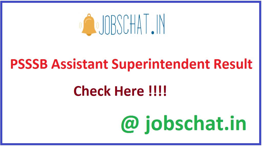 PSSSB Assistant Superintendent Result