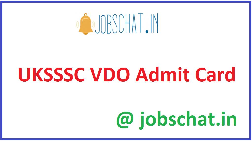 UKSSSC VDO Admit Card