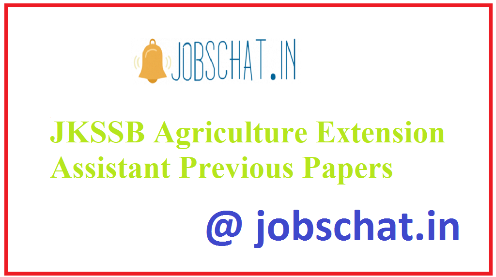 JKSSB Agriculture Extension Assistant Previous Papers