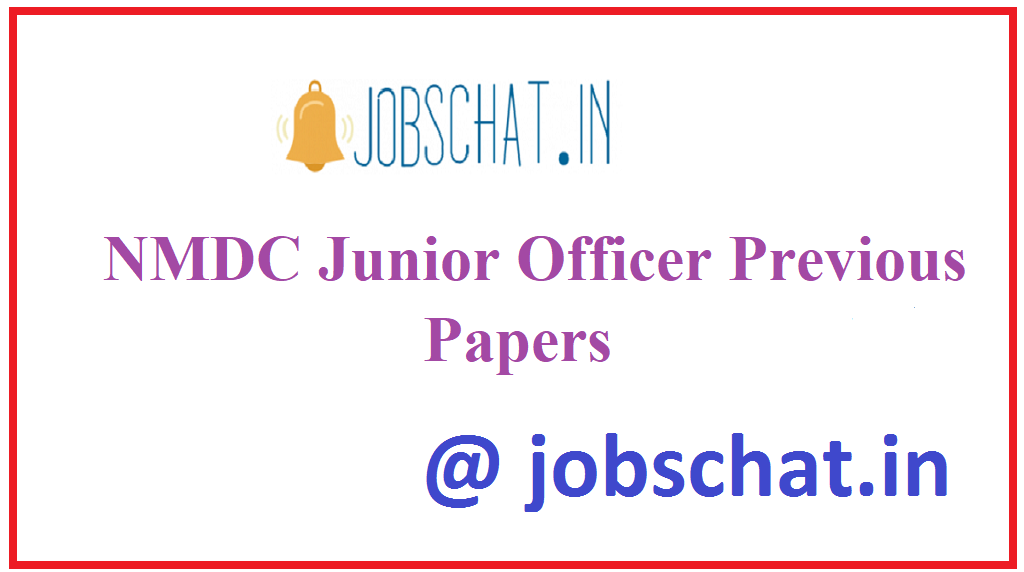 NMDC Junior Officer Previous Papers