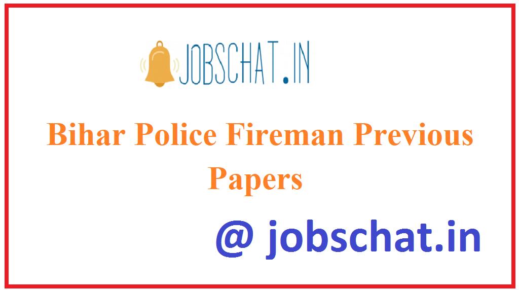 Bihar Police Fireman Previous Papers