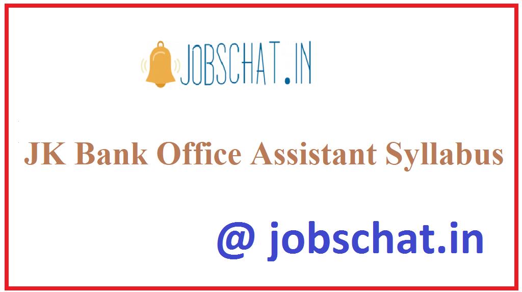 JK Bank Office Assistant Syllabus