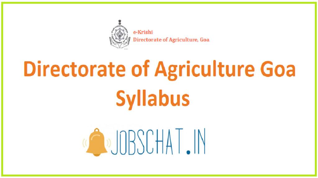 Directorate of Agriculture Goa Syllabus