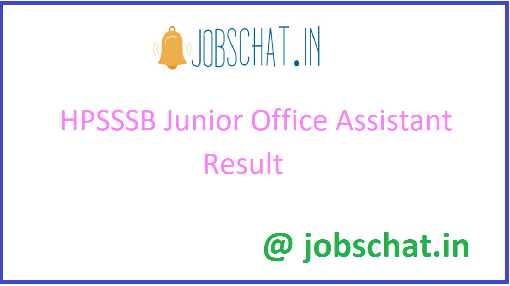 HPSSSB Junior Office Assistant Result