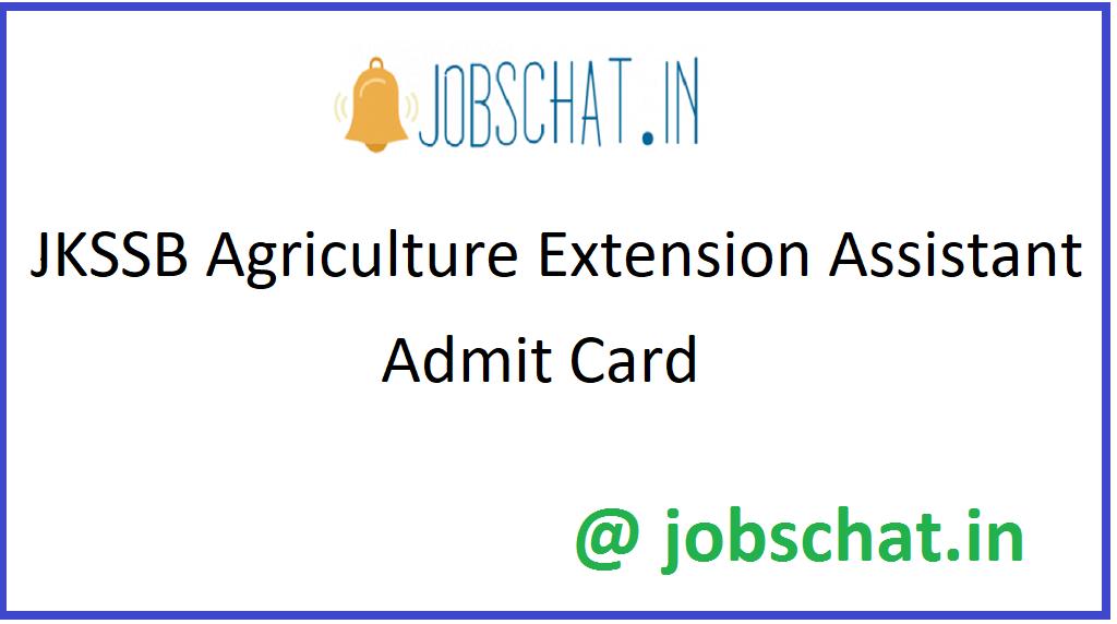 JKSSB Agriculture Extension Assistant Admit Card