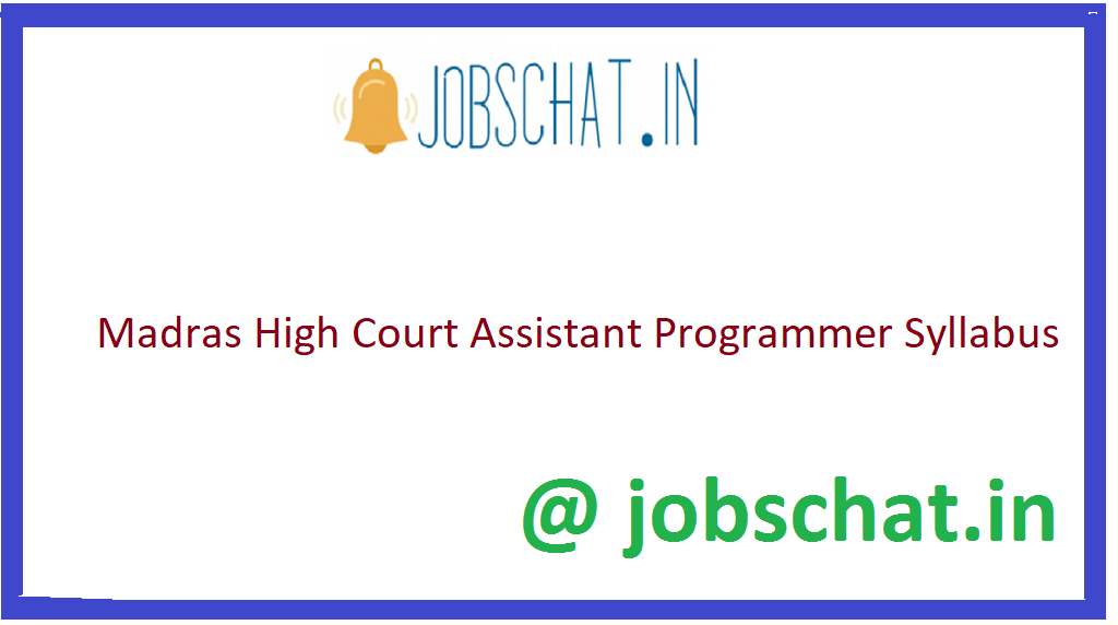 Madras High Court Assistant Programmer Sylalbus