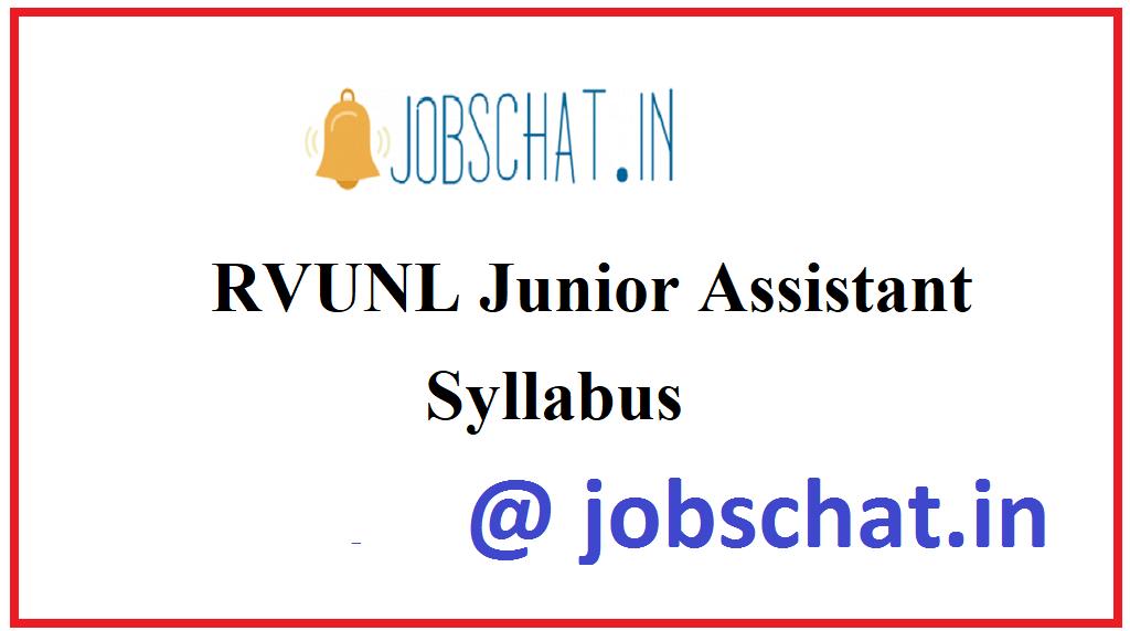 RVUNL Junior Assistant Syllabus