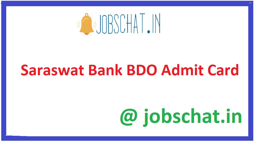 Saraswat Bank BDO Admit Card