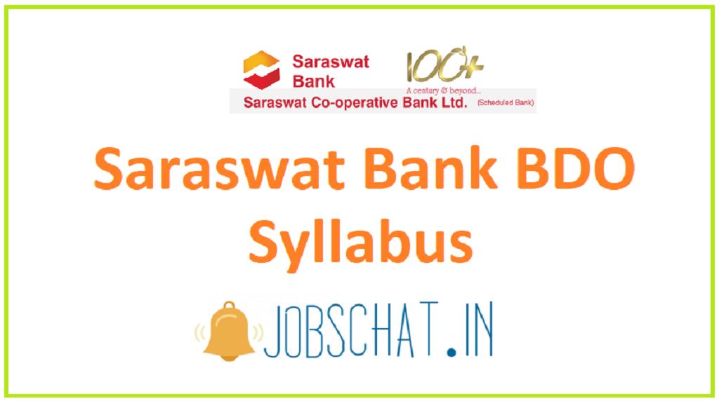 Saraswat Bank BDO Syllabus