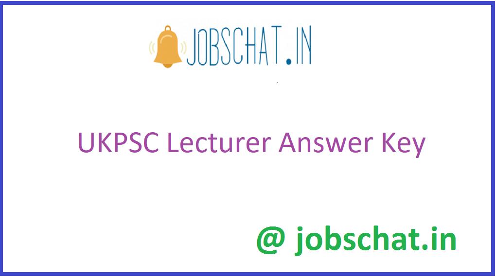 UKPSC Lecturer Answer Key
