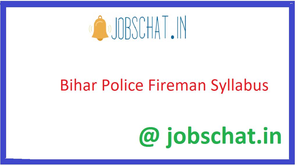 Bihar Police Fireman Sylalbus