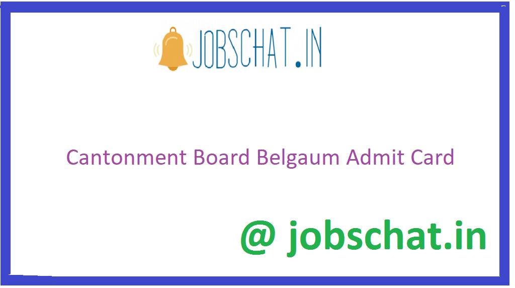 Cantonment Board Belgaum Admit Card