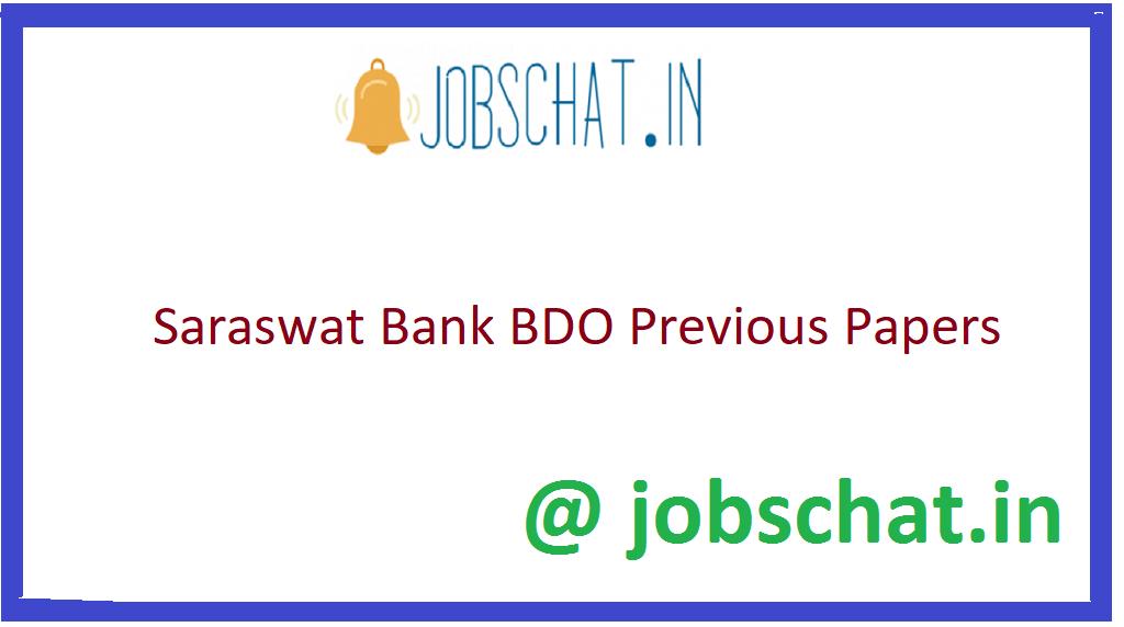 Saraswat Bank BDO Previous Papers