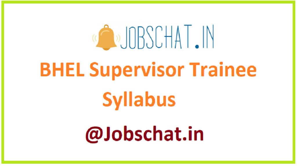 BHEL Supervisor Trainee Syllabus