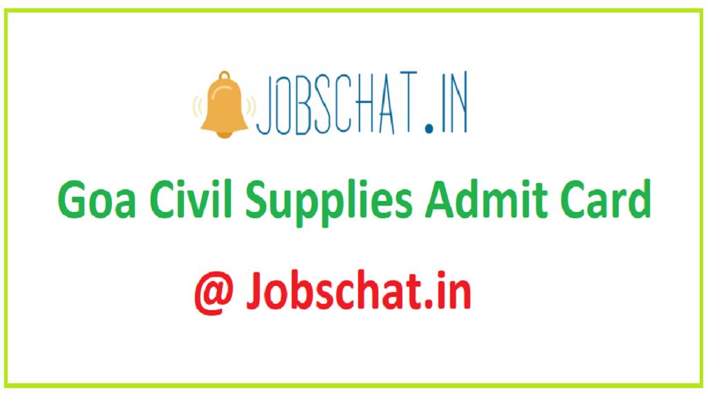 Goa Civil Supplies Admit Card