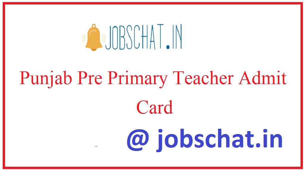 Punjab Pre Primary Teacher Admit Card
