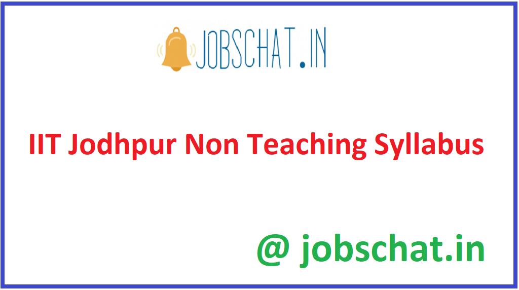 IIT Jodhpur Non Teaching Syllabus