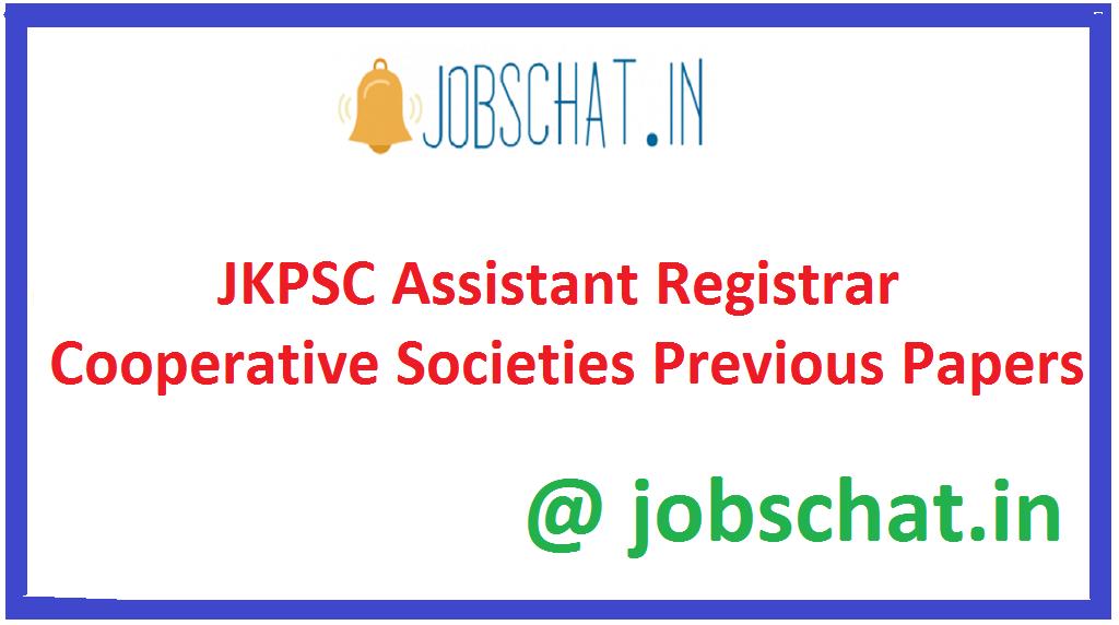 JKPSC Assistant Registrar Cooperative Societies Previous Papers