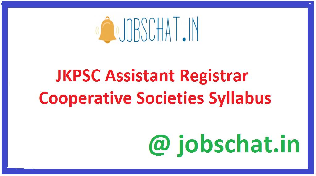 JKPSC Assistant Registrar Cooperative Societies Syllabus