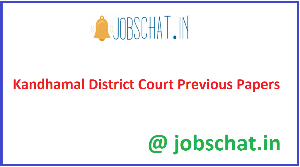 Kandhamal District Court Previous Papers