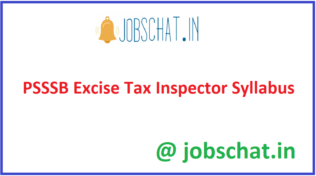 PSSSB Excise Tax Inspector Syllabus
